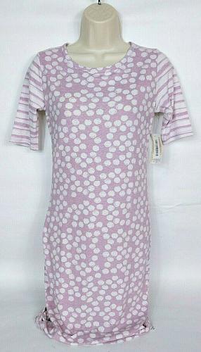 Lularoe Womens Julia 1/2 Sleeve Bodycon Dress Size XS Polka Dot Purple White