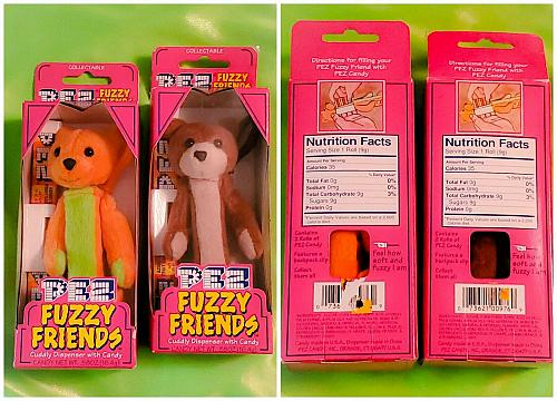 VINTAGE LOT OF 2 FUZZY FRIENDS FACTORY SEALED PEZ DISPENSERS IN ORIGINAL BOX