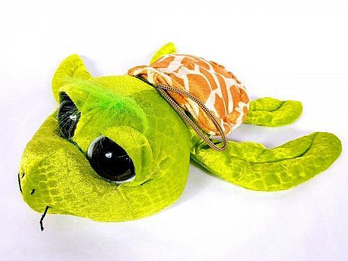 "Six Flags Texas Sea Turtle Big Eyes Plush Stuffed Animal 14"""