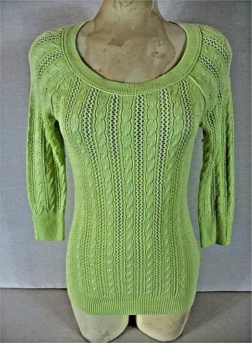 AMERICAN EAGLE OUTFITTERS womens Medium neon green CABLE KNIT sweater (B8)