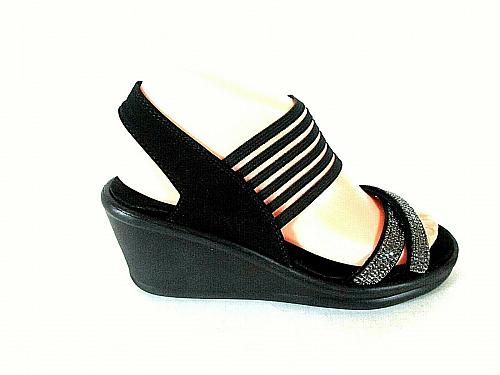 Skechers Black Rhinestones Slingback Open Toe Wedge Sandals Shoes Womens 7 (SW17