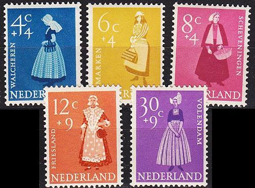 NIEDERLANDE NETHERLANDS [1958] MiNr 0712-16 ( **/mnh )