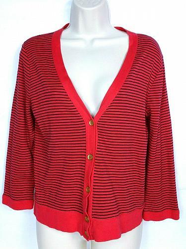 J Crew Women's Perfect Fit Cardigan Sweater Size Medium V Neck Striped Black Red