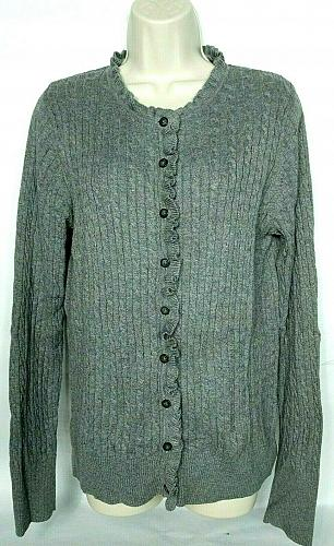 Eddie Bauer Womens Cardigan Sweater Size Large Gray Crew Neck Long Sleeve