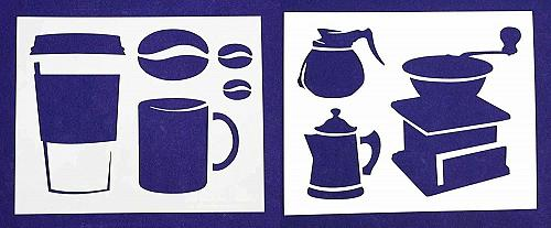 """Coffee Themed 2 Piece Stencil Set 14 Mil 8"""" X 10"""" Painting /Crafts/ Templates"""