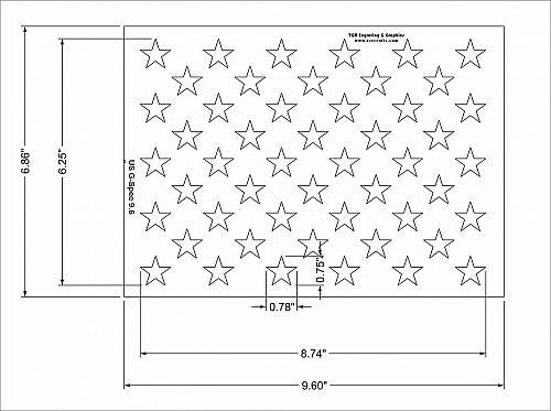 """50 Star Field Stencil 14 Mil-G-Spec -9.6""""L - Painting /Crafts/ Templates"""