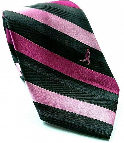 Susan G Komen Knots For Hope Breast Cancer Pink Black Striped Novelty Necktie