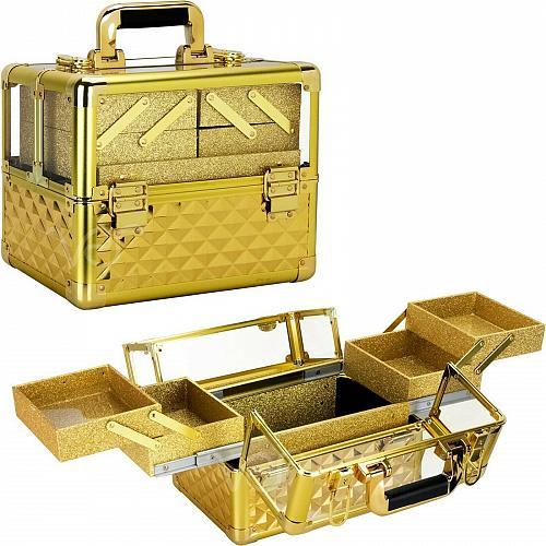 New Travel Train Case Aluminum Makeup Cosmetic Beauty Organizer Storage Lockable
