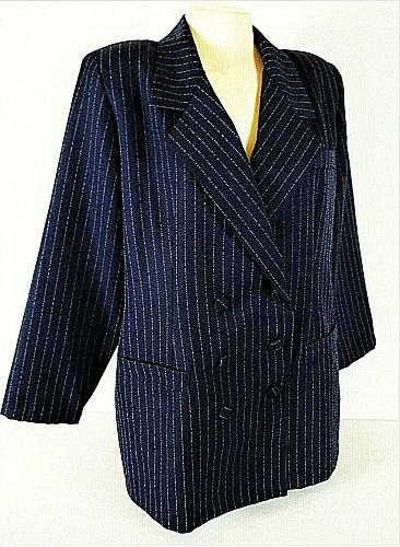 ROAMANS womens Sz 18 navy DOUBLE breasted SILVER PINSTRIPE blazer jacket (C2)