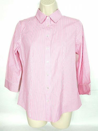 Talbots Women's Button Up Shirt Size 4P Pink White Pinstriped Wrinkle Resistant