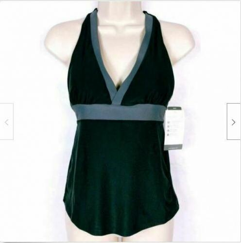 Champion Women's Racer Back Bikini Swimsuit Top Size XS Black Gray NWT