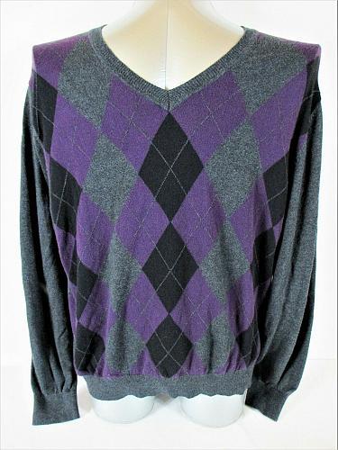 J FERRAR mens Sz XL purple black gray ARGYLE cotton blend V NECK sweater (A7)P