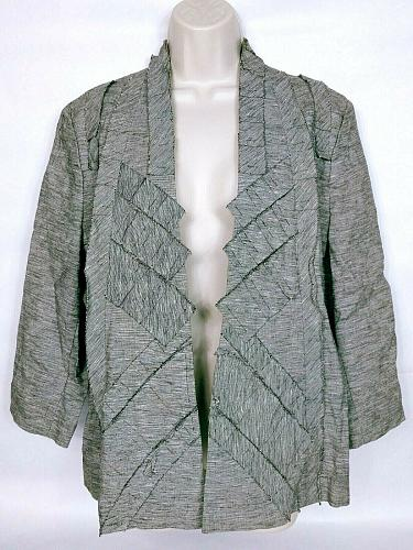 Chico's Women's Shrug Size Large Gray Pinstriped