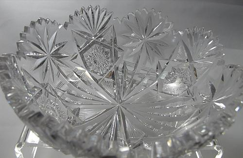 American Brilliant Period Cut Glass Oasis bowl ABP Antique Anderson feathered