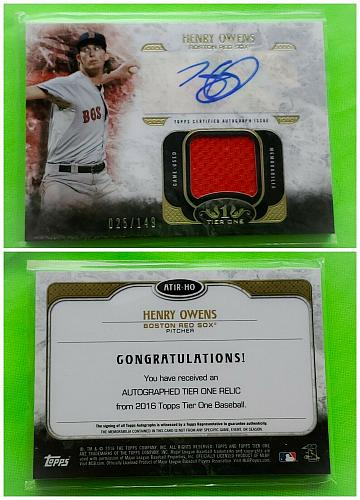 MLB HENRY OWENS BOSTON RED SOX AUTOGRAPHED 2016 TOPPS TIER ONE JERSEY /149 MINT