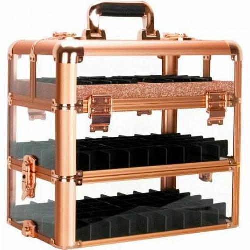 Rose Gold Nail Polish Holder Organizer Storage Makeup Cosmetic Train Case Travel