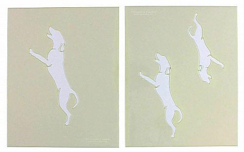 "Blue Tic Hound Dog Stencils- 5"", 6"", 7"" -Mylar 2 Pieces of 14 Mil 8"" X 10"" - Pai"