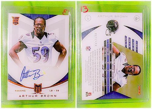 NFL Arthur Brown Baltimore Ravens Autographed 2013 Panini Momentum RC /599 Mint