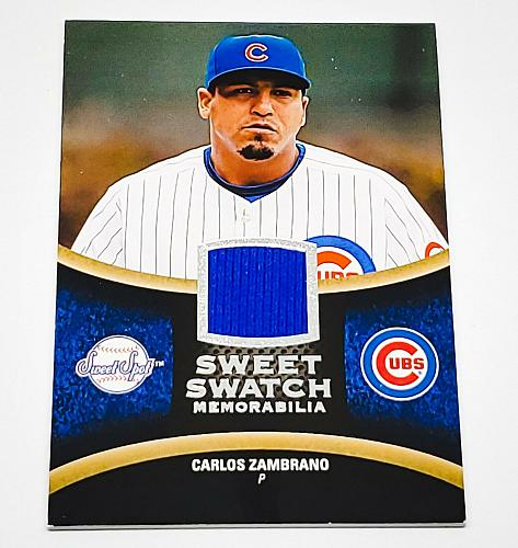 MLB CARLOS ZAMBRANO CHICAGO CUBS 2008 UPPER DECK SWEET SPOT GAME-WORN JERSEY MNT
