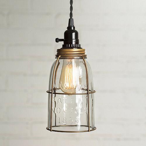 Antique Brass Half Gallon Mason Jar Pendant Lamp Light Rustic Vintage Farmhouse