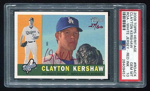 2009 TOPPS HERITAGE REAL ONE RED AUTO CLAYTON KERSHAW PSA 10 GEM MINT (28409457)