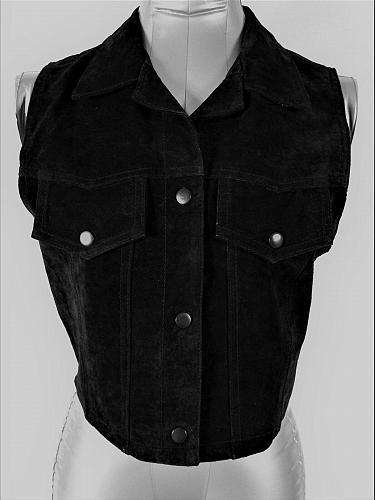 MARIAH womens Sz S/M black SUEDE LEATHER 3 snap closure 2 FAUX POCKET vest (A5)P