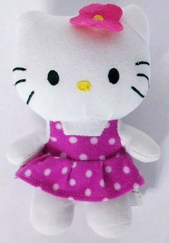 Hello Kitty Cat Pink Polka Dot Dress Plush Stuffed Animal 7""