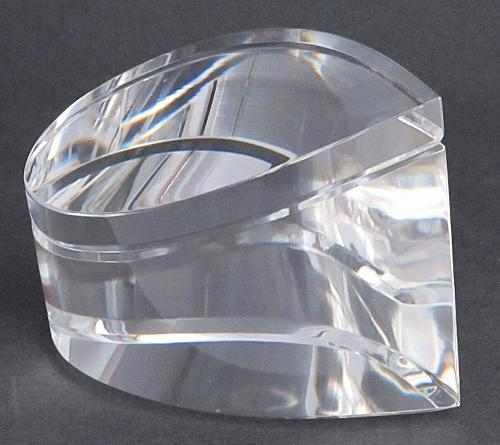 Cut Glass art wave optical sculpture. One of a kind signed