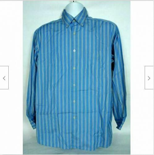Talbots Men's Button Up Casual Shirt Size Medium Blue Striped Long Sleeve