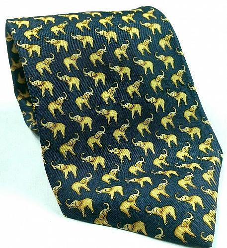 Elephant Pachyderm Animal Blue Gold All Over Print Novelty Silk Tie