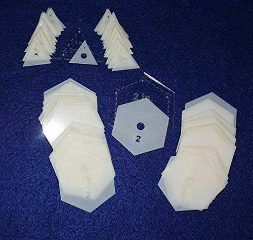 """Mylar 2"""" Hexagon & 1"""" Equilateral Triangle 102 Piece Set - Quilting / Sewing Tem"""