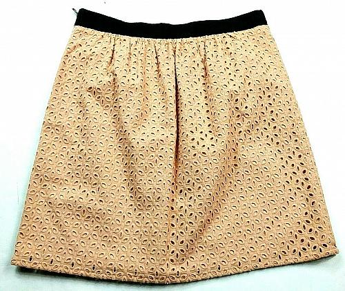 Loft Womens A Line Pleated Skirt Petite 2P Solid Pink Floral Cutout Side Zip