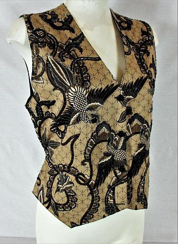 EFFECI womens Medium taupe black brown BEADED button down tie back vest (B6)P