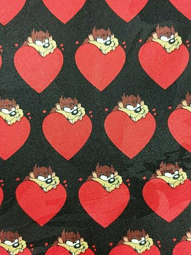 Looney Tunes Tazmanian Valentines Red Heart Love Men's Tie All Over Print