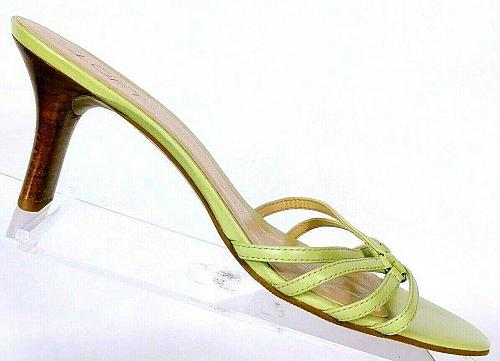 Ann Taylor Loft Women's Green Leather Strappy Heeled Sandals Mules Size 8.5 M