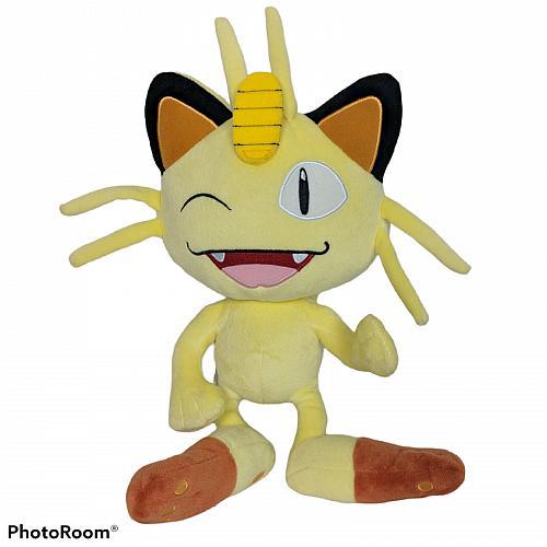 "Pokemon Tomy Meowth Cat Plush Stuffed Animal 2017 13"""