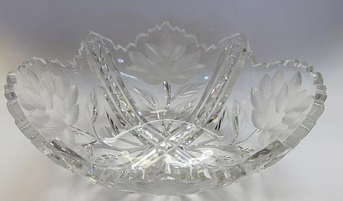 Signed Libbey American Brilliant Period hand Cut Glass oblong shape bowl ABP