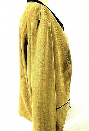 JM Collection womens Sz 20W L/S tan faux SUEDE 2 zip pocket jacket (B8)