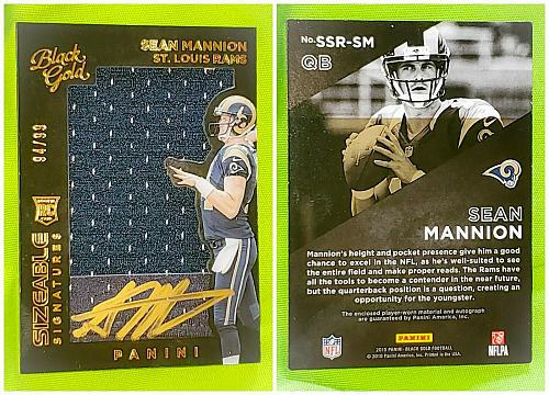 NFL Sean Mannion Rams Autographed 2015 Panini Black Gold JUMBO Jersey RC SP/99