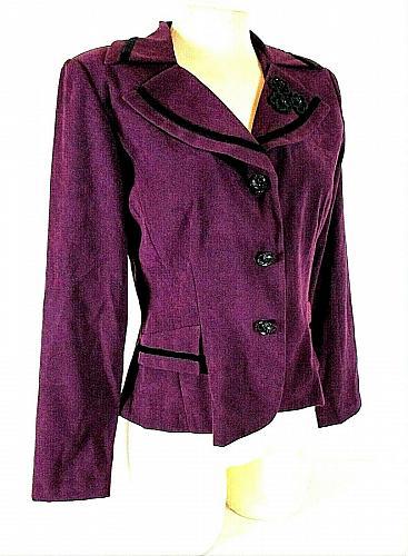 DRESSBARN womens Sz 6 L/S purple black FAUX SUEDE velvet accents jacket (B9)