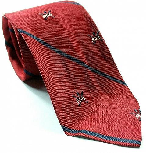 PGA Of America Golf Blue Red Striped Necktie 100% Silk