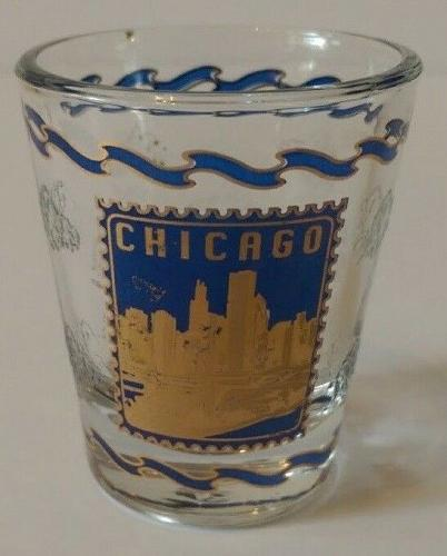 """Chicago City Blue & Gold 2.25"""" Collectible Shot Glass"""