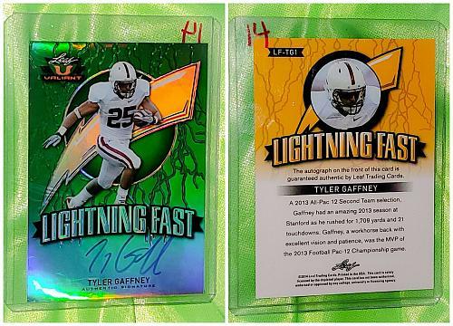 NFL Tyler Gaffney Autographed 2014 Leaf Valiant Rookie Refractor Mint