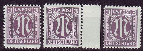 GERMANY Alliiert AmBri [1945] MiNr 0017 a A,C,D ( **/mnh )