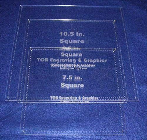 """Square Half Size Templates. 7.5"""",8.5"""", 10.5"""" - With Seam -Clear 1/8"""""""