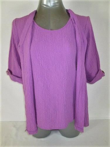 APPARENZA womens Large 3/4 SLEEVE LAVENDER 2 PC LOOK CRINKLED STRETCH TOP (M)