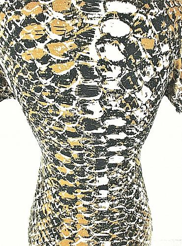 Susan Bristol womens Small S/S beige black KNOTTED FRONT stretch RAYON top (C3)