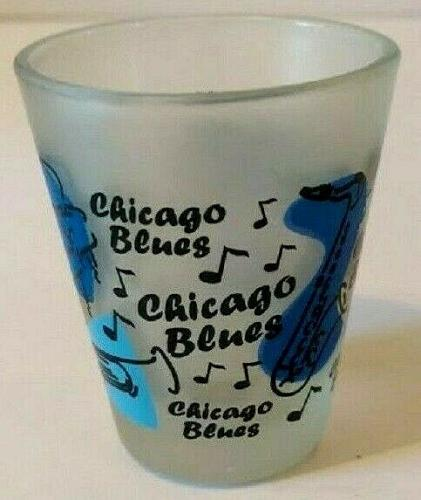"Chicago Blues Frosted Piano Saxophone 2.25"" Collectible Shot Glass"