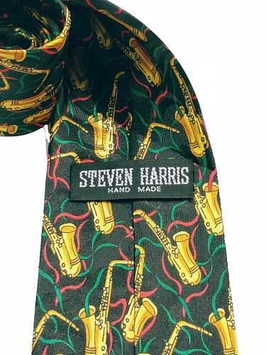 Steven Harris Men's Saxophone Musical Instrument Musician Necktie Novelty