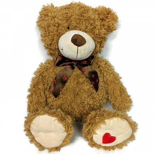 "Avon Brown Teddy Bear Plush with Bow Stuffed Animal 2012 20.5"""